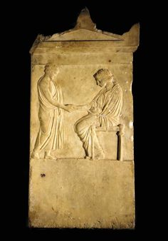 AN ATTIC MARBLE FUNERARY STELE   Classical Period, Circa Early 4th Century B.C.