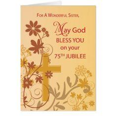 75th Jubilee Anniversary Nun Cross Swirls Flower Card - anniversary gifts diy cyo party