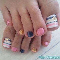 Colorful Toe nail design ~ cute!