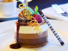 Delights at sea ... three-chocolate mousse dessert.