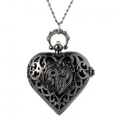 Vreckové hodinky čierne srdce Dog Tag Necklace, Pendant Necklace, Jewelry, Jewlery, Jewerly, Schmuck, Jewels, Jewelery, Drop Necklace