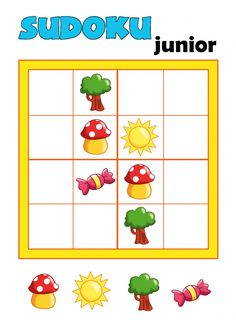 Provide your child with a little brain teaser with this free worksheet! On this worksheet you will find a beginner's sudoku puzzle for Critical Thinking Activities, Quiet Time Activities, Pre K Activities, Dementia Activities, Learning Games, Math Games, Elderly Activities, Physical Activities, Preschool Education