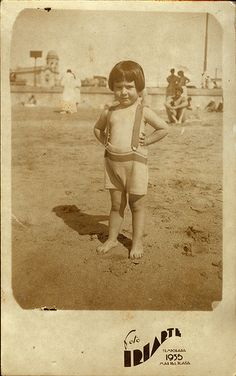 By the sea - One  little girl, pants with straps