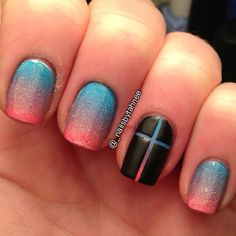 Ombre nails with cross accent. -- paint the nail first, then apply thin strips of tape, paint black over it. Done it to create striped nails.
