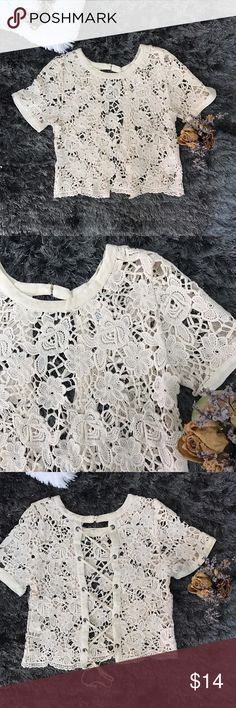 🌸Gorgeous Crochet Blouse🌸 NWT Crochet blouse.! It would look gorgeous with a bralette or camisole or tank top underneath as well as your bikini.! So cute and feminine.! I honestly know I'm not going to use it because I have sooo many blouses like this and I need to spice up my closet.! 🎀Bundle 2 or more items for 15% off 🎀                                         Size: Medium but will fit a Small perfectly since it adjusts in the back.! Tops Blouses