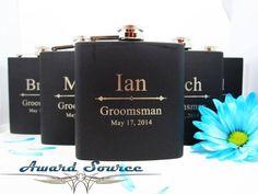 6 Groomsman Flask Set ~ With Free Engraving ~ 6 oz Matte Black Hip Flask ~ Stainless Steel 6oz Flask ~