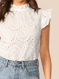 To find out about the Mock-Neck Ruffle Trim Embroidery Eyelet Top at SHEIN, part of our latest Blouses ready to shop online today! Crop Top Designs, Blouse Designs, Chic Outfits, Fashion Outfits, Lace Top Dress, Eyelet Top, How To Make Clothes, Clothing Hacks, Dye T Shirt