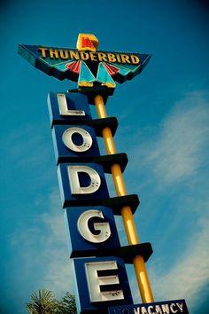 Thunderbird Lodge Vintage Neon Sign - Retro Home Decor - Retro Wall Art - Riverside Motel - Graphic Office Art - Fine Art Photography Advertising Signs, Vintage Advertisements, Thunderbird Tattoo, Neon Sign Art, Vintage Neon Signs, Old Signs, Retro Home Decor, Googie, Modern