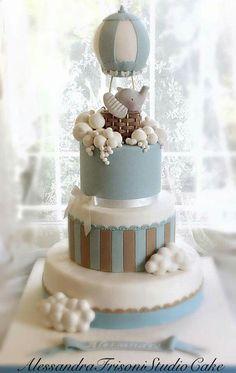 Alessandra frisoni cake Elephant Baby Shower Cake, Elephant Cakes, Baby Shower Cakes For Boys, Baby Boy Cakes, Baby Shower Decorations For Boys, Hot Air Balloon Cake, Baby Birthday Cakes, Shower Bebe, Baby Shower Balloons
