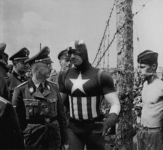 http://www.boumbang.com/agan-harahap/ Captain America - A Camp Near Minsk 1941. Heinrich Himmler inspects a prisoner-of-war camp in Russia © Agan Harahap