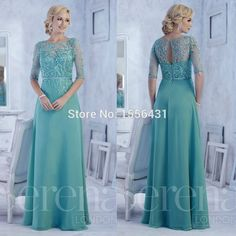 2016 New Beaded Blue Half Sleeve Long Mother Of Bride Dress Wedding Formal Gowns Cheap Evening Dresses, Modest Dresses, Elegant Dresses, Plus Size Dresses, Evening Gowns, Cheap Dress, Mother Of The Bride Dresses Long, Mothers Dresses, Mother Bride