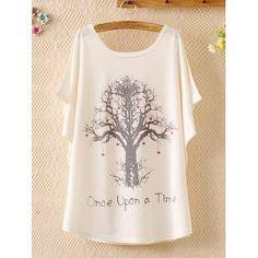 $13.86 Sweet Scoop Neck Wishing Tree Print Batwing Sleeve Casual Women's T-Shirt
