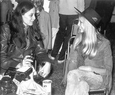 """"""" Sara Dylan and Pattie Boyd backstage at the Isle of Wight Festival, August 1969 """" George Harrison, Patti Harrison, Harrison Ford, Eric Clapton, Bob Dylan Wife, Isle Of Wight Festival, Pattie Boyd, Rocker Girl, Rocker Style"""
