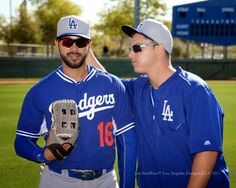"Dodgers Blue Heaven: Blog Kiosk: 3/7/2015 - Dodger Links - Colletti, Pederson and Rollins Impact on Puig  *It looks like rookie Joc Pederson is one of the guys.  As evidenced in Jon SooHoo's photo above, Joc goofs around with Andre Ethier before yesterday's split squad game.  I wonder if Joc did the ol' ""what's in your ear"" joke and pulled out a Baseball to the wonder of everyone within view."