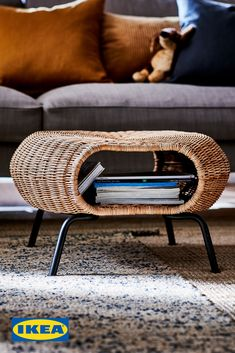 Storage some would call sneaky. Hide it all away in the GAMLEHULT footstool. Rattan Ottoman, Rattan Furniture, Handmade Furniture, Cool Furniture, Ikea Living Room, Cozy Living Rooms, Living Room Furniture, Storage Footstool, Ikea Home