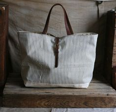 Recycled Ticking Fabric & Braided Leather Tote Bag