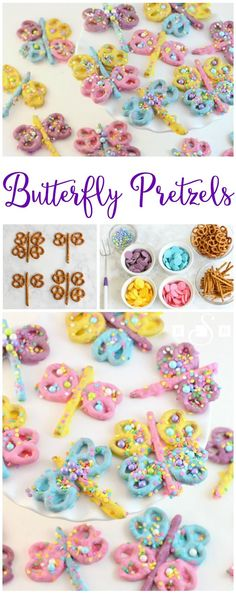 Butterfly Pretzels - Dragonfly Pretzels - Butter With A Side of Bread Super cute & so fun to make, you'll love dipping pretzels to make these colorful butterflies and dragonflies! Butterfly Pretzels will be your favorite treat! Butterfly Birthday Party, Tea Party Birthday, Birthday Cupcakes, Birthday Kids, Deco Cupcake, Cupcake Toppers, Mini Desserts, Diy Party Desserts, Tea Party Snacks