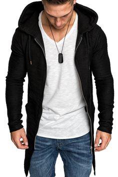Amaci&Sons Herren Oversize Jacke Kapuzenpullover Sweatshirt Hoodie Sweatjacke Pullover 4010 Schwarz S: Amazon.de: Bekleidung