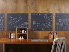 Love these chalkboard wall panels for above kids desks!