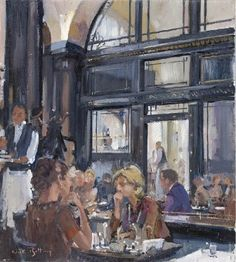 Nick Botting (UK b. Breakfast at The Wolseley oil on canvas 18 x 16 in. The Wolseley, Lawrence Lee, Cafe Restaurant, Cool Artwork, Contemporary Artists, Monet, Impressionism, Interior And Exterior, Oil On Canvas