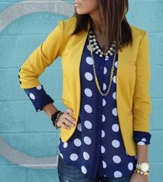 I like this look of the polka dot top under the yellow blazer. Not sure if I'd do a yellow blazer, but I do like this bold look. Fashion Mode, Look Fashion, Street Fashion, Womens Fashion, Fashion Ideas, Net Fashion, High Fashion, Luxury Fashion, Fashion Trends