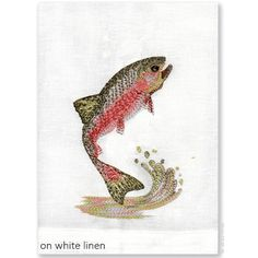 Finely detailed embroidered thread paintings for which Anali is so well known. Anali's Trout design is embroidered on white or coffee linen guest towels.