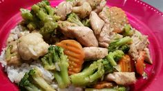 Easy Summer  Stir Fry .  Chicken & veggie blend w/ ground ginger & minced garlic sauce.  The veggie blend are carrots, cauliflower & broccoli .  ; -  )