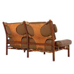 Cognac Buffalo Leather 'Inka' Sofa By Arne Norell