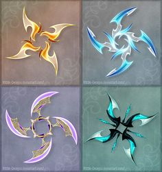 Holy Fuck these are awesome. DO NOT edit, trace, copy or repost these designs! They belong to people who bought them. 1 (orange) - sold to GuardianofLightAura 2 (blue) - sold to ZoeVulpez 3 (violet) - sold to 4 (turqu. Ninja Weapons, Anime Weapons, Fantasy Weapons, Shuriken, Dessin Animé Lolirock, Weapon Concept Art, Knives And Swords, Anime Outfits, Dungeons And Dragons