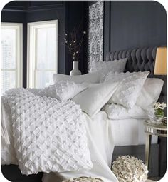 Laura from Milwaukee, WI requested a post on all white bedding. White bedding and lots of pillows? I've had all white bedding. Gray Bedroom, Home Bedroom, Bedroom Decor, Bedroom Ideas, Bedroom Colors, Bedroom Inspiration, Pretty Bedroom, White Bedrooms, Design Bedroom