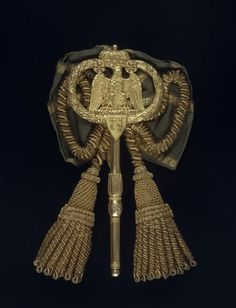 General Guyot (1768–1837) Chamberlain's Key to Napoleon I. Gilt Bronze with Silk Bow and Tassles. France. Circa 1804-1810.