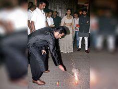 Anil Kapoor with Sonam Kapoor and Harshvardhan Kapoor during Diwali celebrations in Mumbai