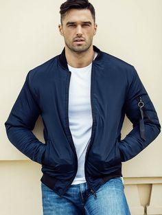 Pánska modrá bomber bunda MNAK-95B Handsome Male Models, Suit Jacket, Bomber Jacket, Parka, Stock Photos, Blazer, Outfit, Sweaters, How To Wear