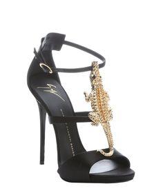 Giuseppe Zanotti black satin alligator detail stiletto sandals   BLUEFLY up to 70% off designer brands