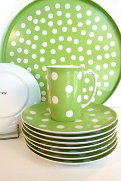 Vintage green and white polka-dot Fitz & Floyd dishes with tray. $50.00, via Etsy.