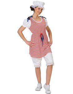 Retro-Badekleid Damenkostüm rot-weiss-blau aus der Kategorie Karnevalskostüme Klassiker. Eine Zeitreise in die 20er Jahre gefällig? Dieses originelle Karnevalkostüm für Damen stellt ein waschechtes Badekleid im Retro-Stil dar!