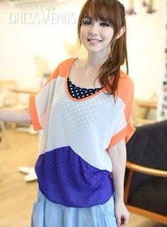 Cute Korean Style Polka Dots Chiffon Two Pieces Set Jumper T-shirt , #Clothing  #Tops  #MarketPricde $25.00  But now Only #$10.49