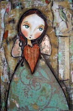 pbsartstudio heart as bodice Illustrations, Illustration Art, Angel Art, Face Art, Art Faces, Art Journal Inspiration, Whimsical Art, Naive, Mixed Media Art