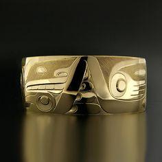 Gerry Marks, 14k Yellow Gold Bracelet, Bear and Whale, Northwest Coast Native Art