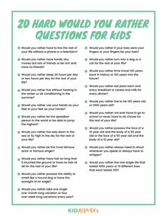 A collection of 301 would you rather questions appropriate for kids of all ages. Enjoy these weird, gross, funny, and hard would you rather questions. Funny Would You Rather, Would You Rather Questions, This Or That Questions, Therapy Activities, Activities For Kids, Sleepover Activities, Sleepover Party, Educational Activities, Educational Websites