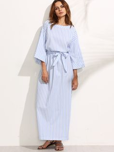 Shop Blue Striped Bow Waist Maxi Dress online. SheIn offers Blue Striped Bow Waist Maxi Dress & more to fit your fashionable needs.