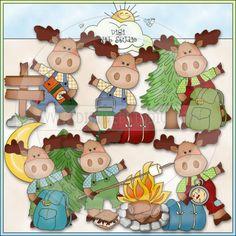 Little Moose Goes Camping 1 - NE Cheryl Seslar Clip Art