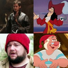 Once Upon a Time characters matched with Disney characters: Captain Hook and Mr. Smee. #OnceUponATime #OUAT #TV_Show