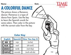 Grade K-1 students learn the Spanish words for colors:  http://www.timeforkids.com/worksheets/?f[0]=im_field_themes%3A66&f[1]=im_field_themes%3A104