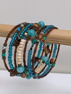 Memory wire bracelets by Beadybangles Jade Beads, Beads And Wire, Metal Beads, Memory Wire Jewelry, Memory Wire Bracelets, Copper Jewelry, Diy Jewelry, Beaded Jewelry, Beaded Bracelets Tutorial