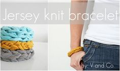 Recycle old T-shirts with this awesome t-bracelet... Tutorial at V and Co.... she has awesome stuff on the net and Pinterest!