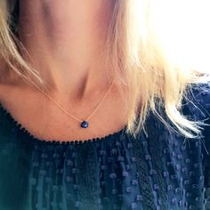 Sapphire Necklace, September Birthstone, Gold Sapphire Necklace, Real Sapphire, Genuine Sapphire, Dainty Necklace