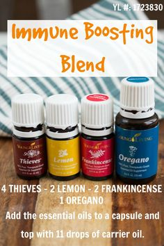 Immune Boosting Blend: I added the EOs and carrier oil into an empty capsule and took it with water, but it could also be used topically. Plus Thieves, Lemon, and Frankincense all come in the Premium Starter Kit. Essential Oils For Colds, Essential Oil Uses, Young Living Essential Oils, Thieves Essential Oil, Young Living Oils, Thing 1, Capsule, Carrier Oils, Essential Oils