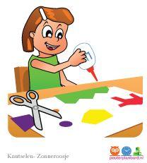 Knutselen  Onderdeel van de serie Zonneroosje.  Peuterplanbord, specialist in planborden en pictogrammen voor kinderen