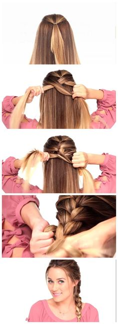 The easiest possible way to do a perfect French braid - New Hair Styles Hair Dos, Hair Hacks, Girl Hairstyles, French Braided Hairstyles, Simple Braided Hairstyles, Easy Work Hairstyles, Wedding Hairstyles, Natural Hairstyles, Simple And Easy Hairstyles